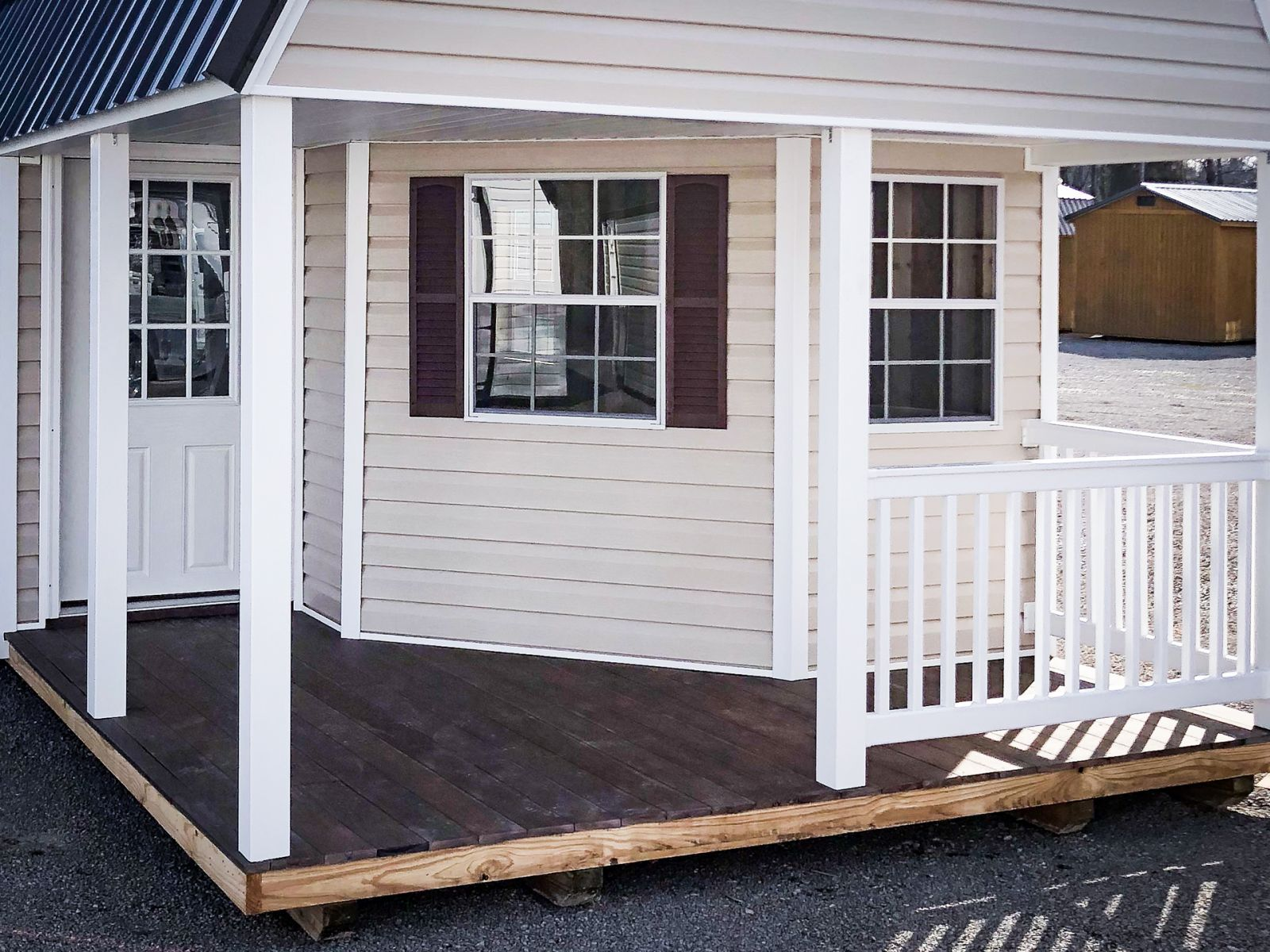 Wraparaound porch option on a portable cabin in Kentucky
