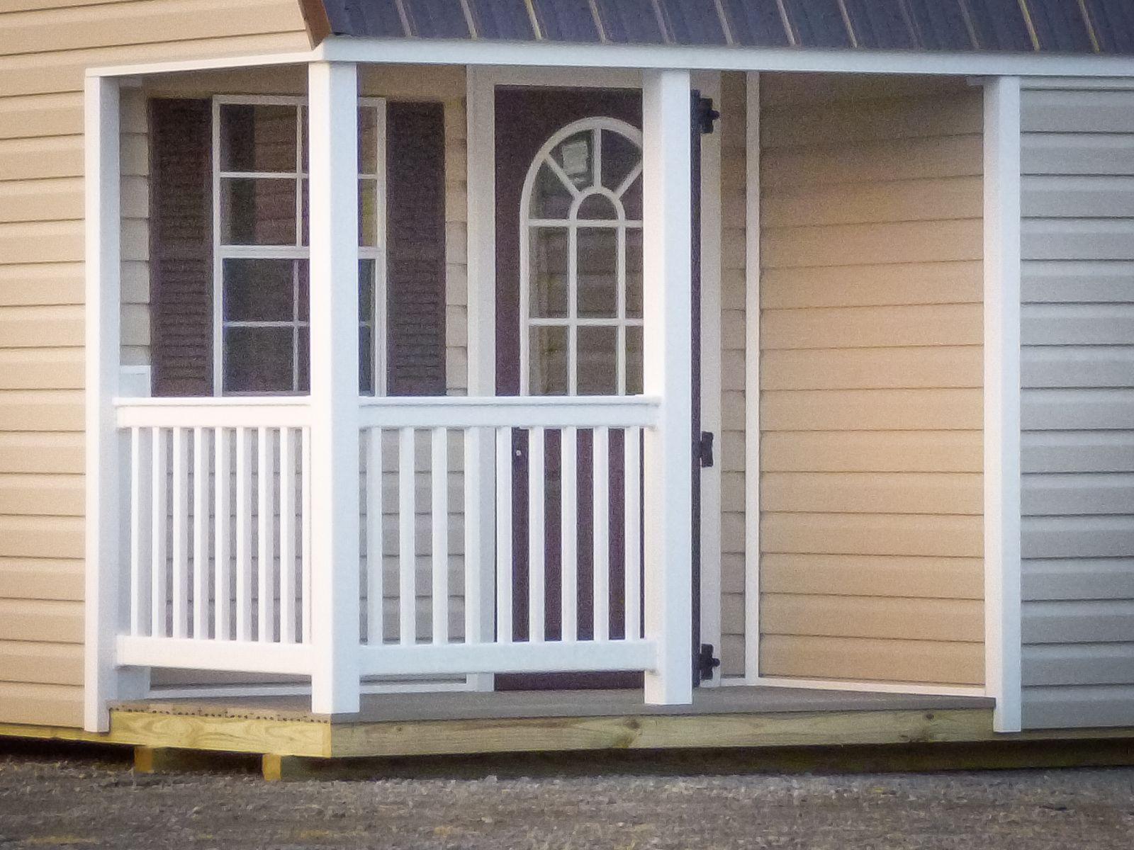 Corner porch on a lofted barn cabin in Kentucky