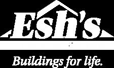 esh utility buildings ky sheds white logo