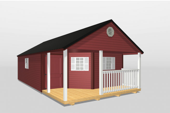 A 3d rendering of a custom shed in Kentucky