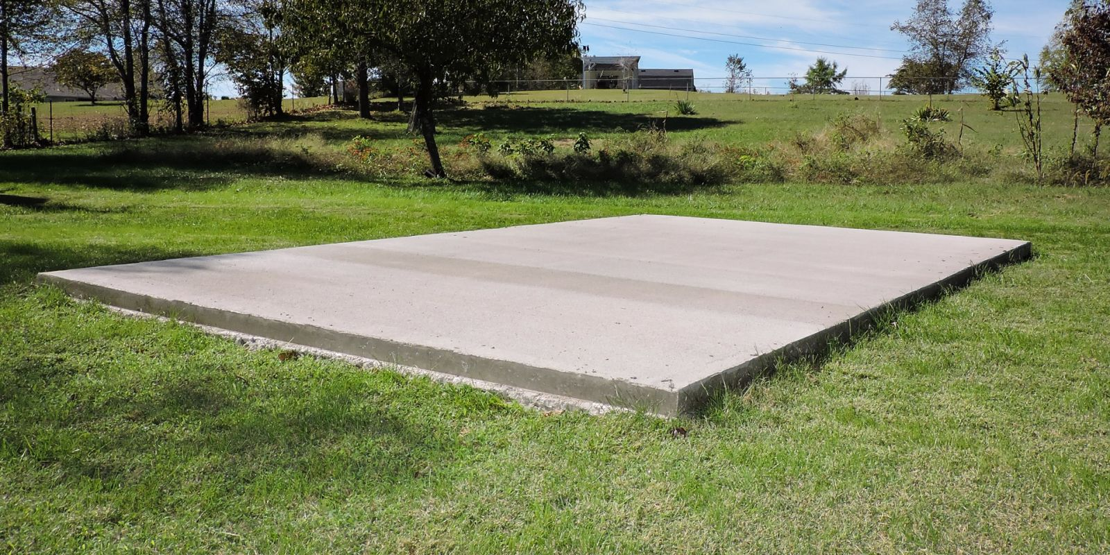 A concrete shed foundation in KY
