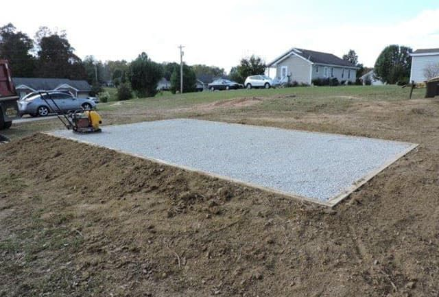 Gravel foundation for a quality storage buildings