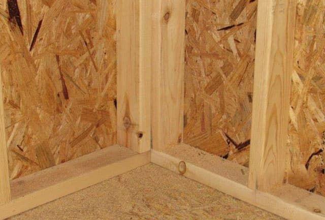 Inside corner framing on a quality storage building