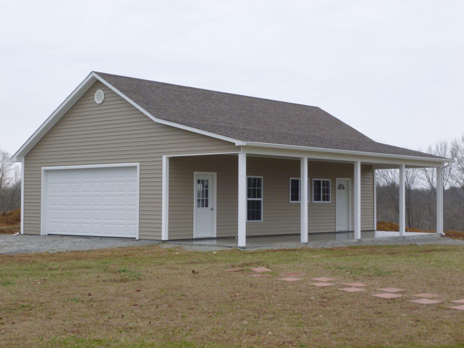 prebuilt garage built on site