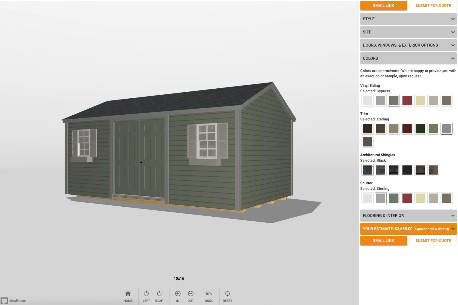 A 3D shed design software