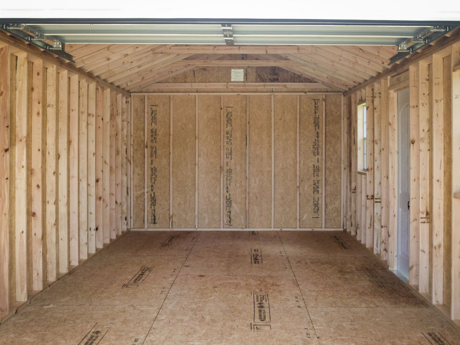 Interior of a portable garage shed for sale in Louisville, KY