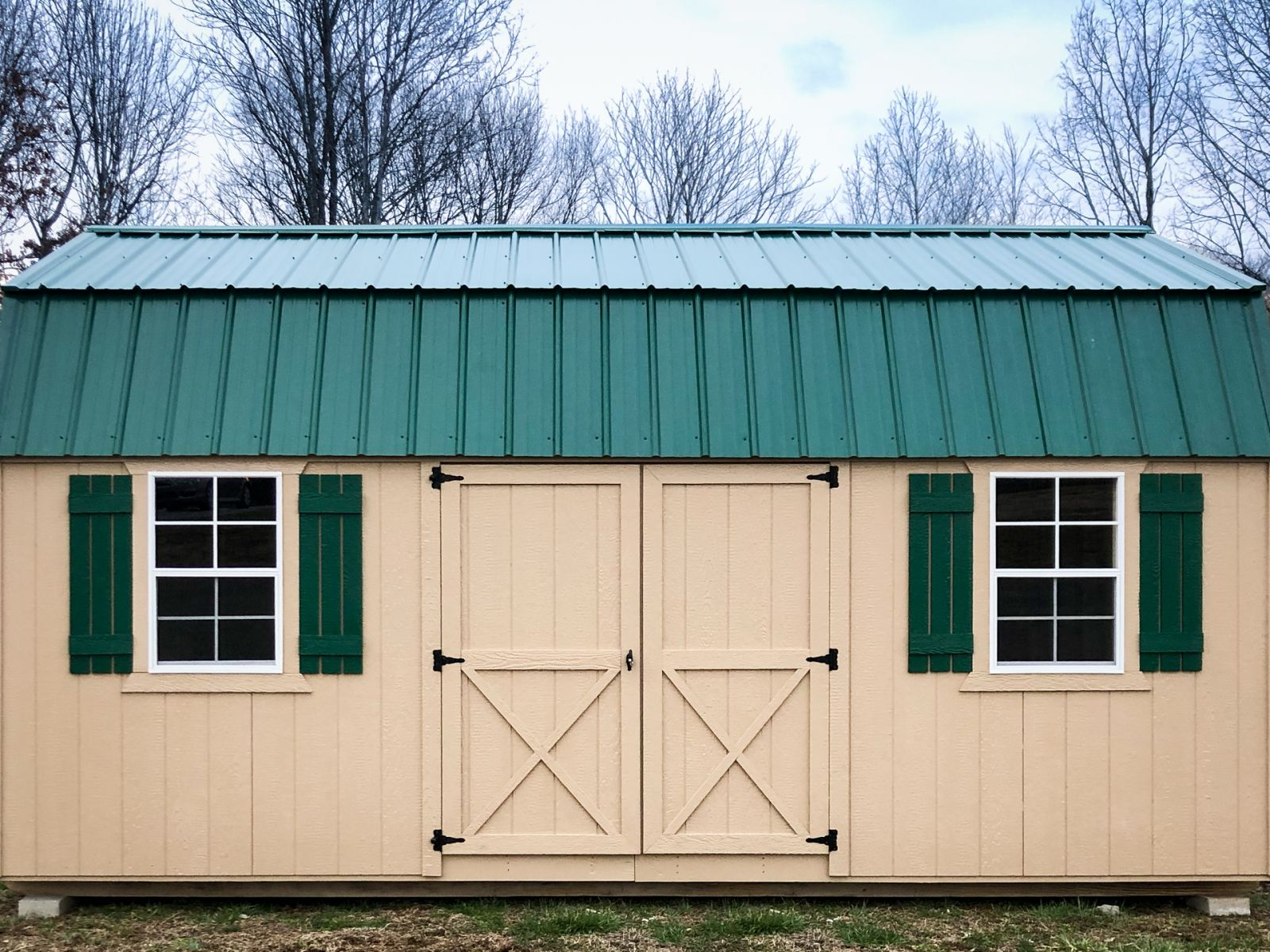 A painted wood storage shed for sale in Nashville, TN