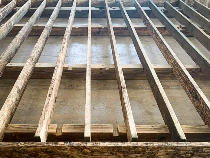 The floor structure of a custom shed in KY