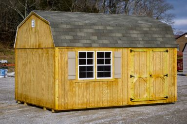 A shed in Kentucky with wooden siding and a shingle roof