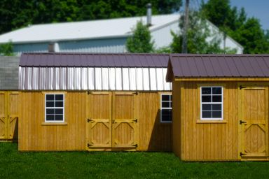 Wooden sheds in Kentucky with double doors and windows