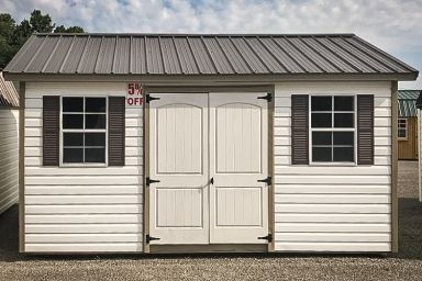 A discounted garden shed in Tennessee with vinyl siding