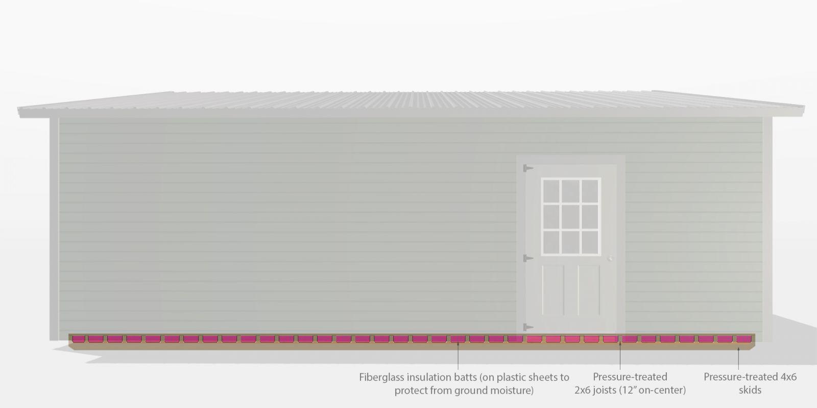 prefab detached garage insulation diagram