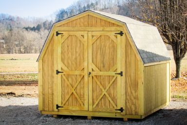 A backyard shed in Kentucky with wooden siding and double doors