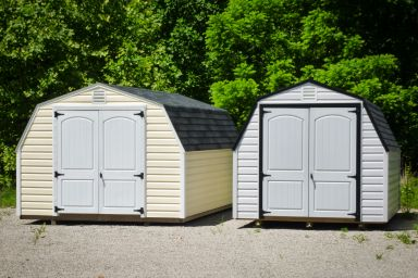 Backyard sheds in Kentucky with vinyl siding and double doors