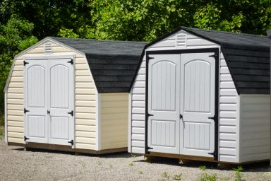 Portable sheds in Kentucky with vinyl siding and double doors