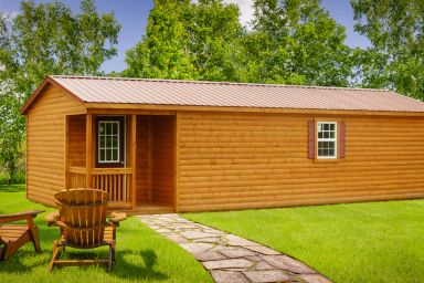 A portable cabin in Tennessee with log siding