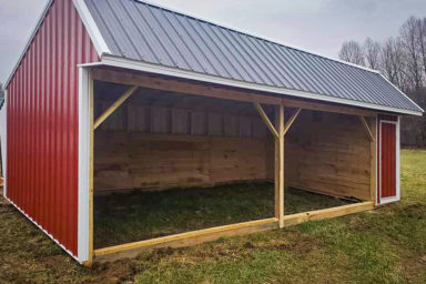 A metal horse run-in shed sold in Kentucky with wooden kickboards