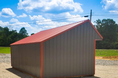 A metal horse run-in shed built in Kentucky or Tennessee