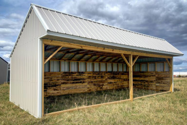 A metal horse run-in shed sold in Kentucky