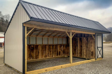 A wood horse run in shed with a metal exterior sold in Tennessee