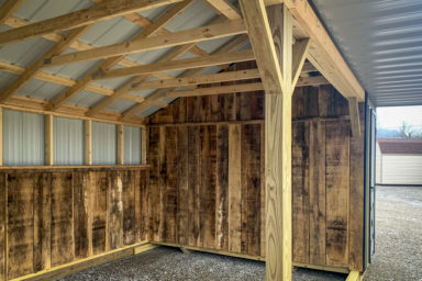 Interior of a horse run in shed available in Tennessee