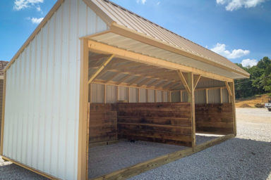 A prefab animal shelter for sale in Kentucky with metal siding