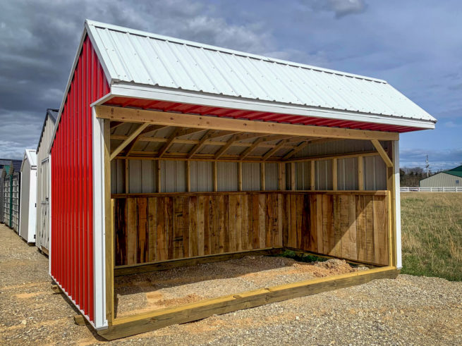 A red metal prefab animal shelter for sale in Tennessee