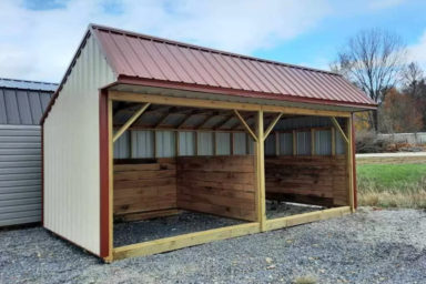 A prefab animal shelter for sale in Tennessee with metal siding