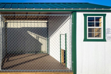 Side of a prefab pet shed for sale in Tennessee