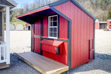A red and black custom chicken coop for sale in Tennessee