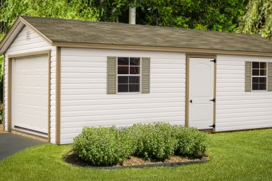 A portable garage in Kentucky with windows